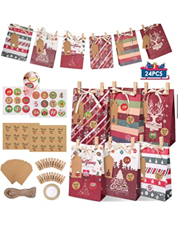 Bolsas de Papel Ideales para el Calendario de Adviento Bricolaje Bolsa de Regalo para cumplea/ños PandaHall 24 Bolsas de Papel Kraft con Pegatinas Caramelos y Dulces
