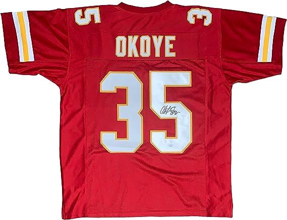 Christian Okoye autographed signed jersey NFL Kansas City Chiefs ...