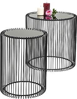 Lot de 2 Tables Basses Rondes en Verre Moderne, Noir, 44 cm