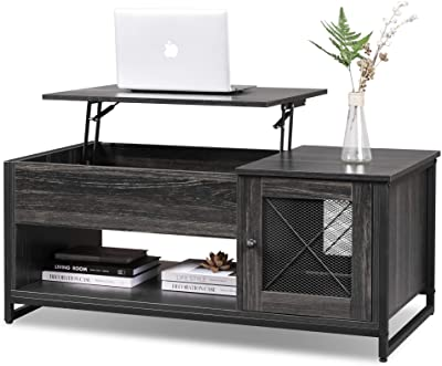 WLIVE Industrial Lift Top Coffee Table, 3-Tier Cocktail Table, Metal Mesh Cabinet Door with Hidden Compartment for Living Room, Home, Office