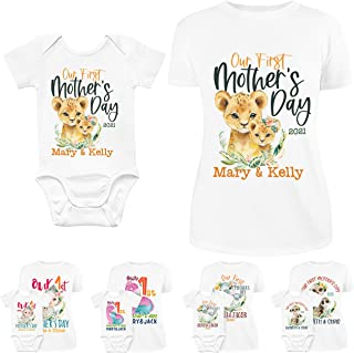Our First Mothers Day Matching Outfit for Mom & Baby Boy, Girl | 10 Design - 5 Sizes | Personalized 1st Time Mom Shirt and...