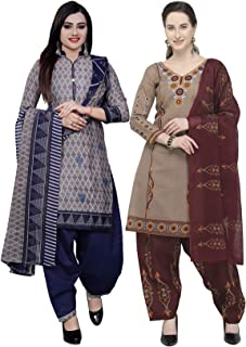 Rajnandini Women's Grey And Beige Cotton Printed Unstitched Salwar Suit Material (Combo Of 2) (Free Size)