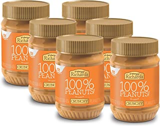 Crazy Richard's Crunchy Peanut Butter, 100% Natural, Non-GMO, Gluten-Free, 16 Ounce Jars (Pack of 6)
