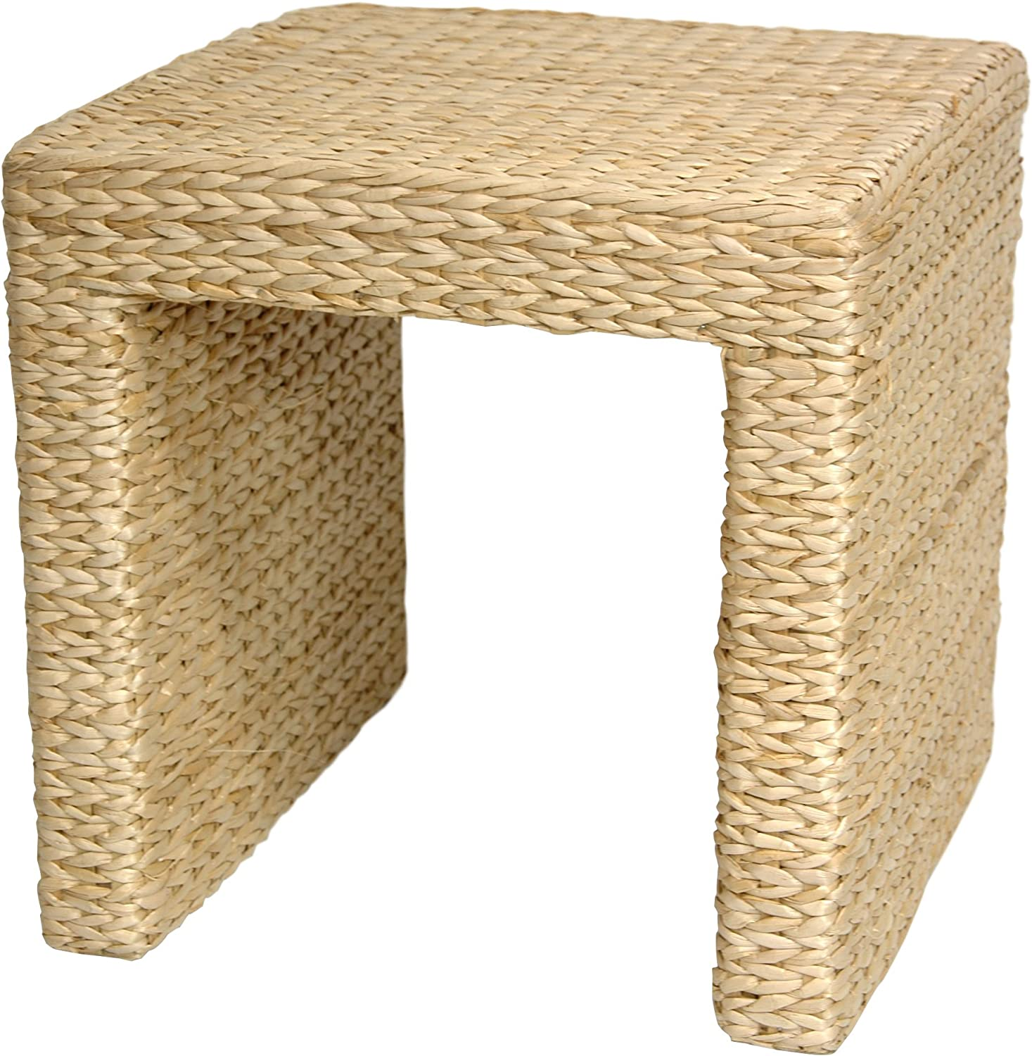 Oriental Furniture Excellent Simple Rustic Beautiful, 18-Inch Woven Fiber Water Hyacinth Rattan Style Square End Table Night Stand, Natural