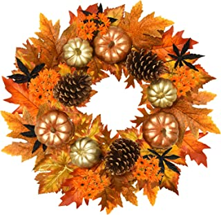 Rocinha Fall Wreath for Front Door Decor, 20 inch Autumn Wreath with Pine Cones Pumpkin Maple Leaf, Artificial Large Wreat...