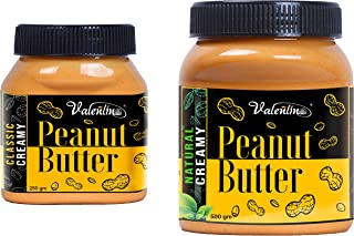 valentino Peanut Butter Combo Classic creamy250gm+Natural Creamy 500gm (Pack of 2)