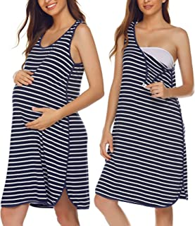 Ekouaer Women's Maternity Sleeveless Dress Striped Nightgown Pregnancy Gown for Breastfeeding