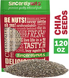 Sincerely Nuts Black Chia Seeds (7.5 lb bag) - Natural Superfood | Raw, Gluten Free, Vegan & Kosher | Healthy Snack Food & Smoothie Thickener | Amazing Source of Protein, Omega 3, Fiber, Vitamins