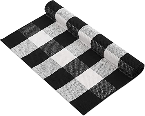 MUBIN Cotton Buffalo Plaid Rug Black/White Check Rugs 27.5 x 43 Inches Hand-Woven Indoor or Outdoor Rugs for Layered ...