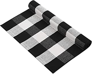 MUBIN Cotton Buffalo Plaid Rug Black/White Check Rugs 27.5 x 43 Inches Hand-Woven Indoor or Outdoor Rugs for Layered Door ...