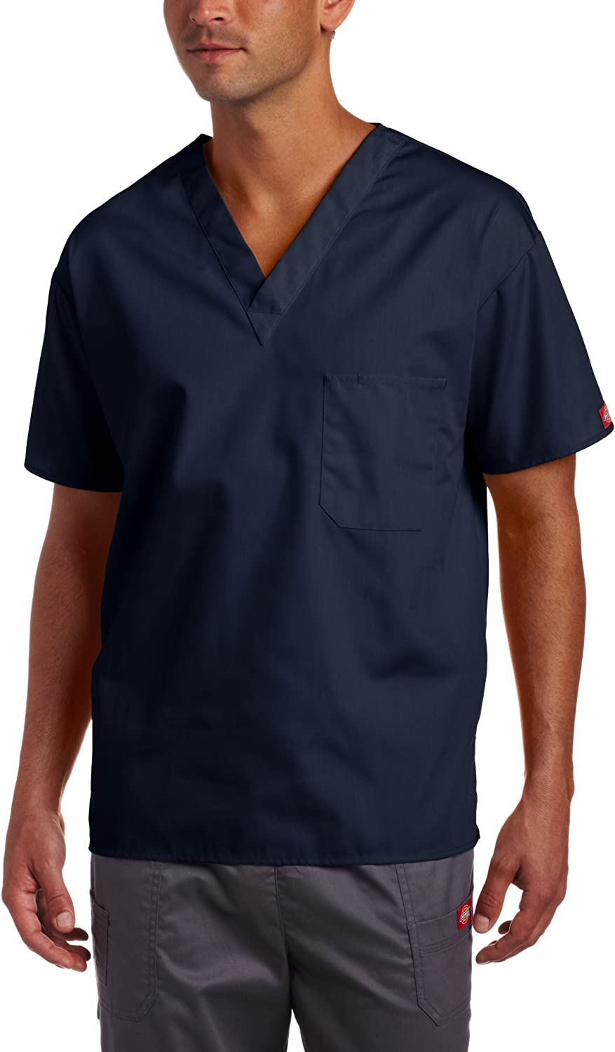 Dickies Big Everyday Scrubs Unisex Plus Size V-Neck Top Solid Scrub Top
