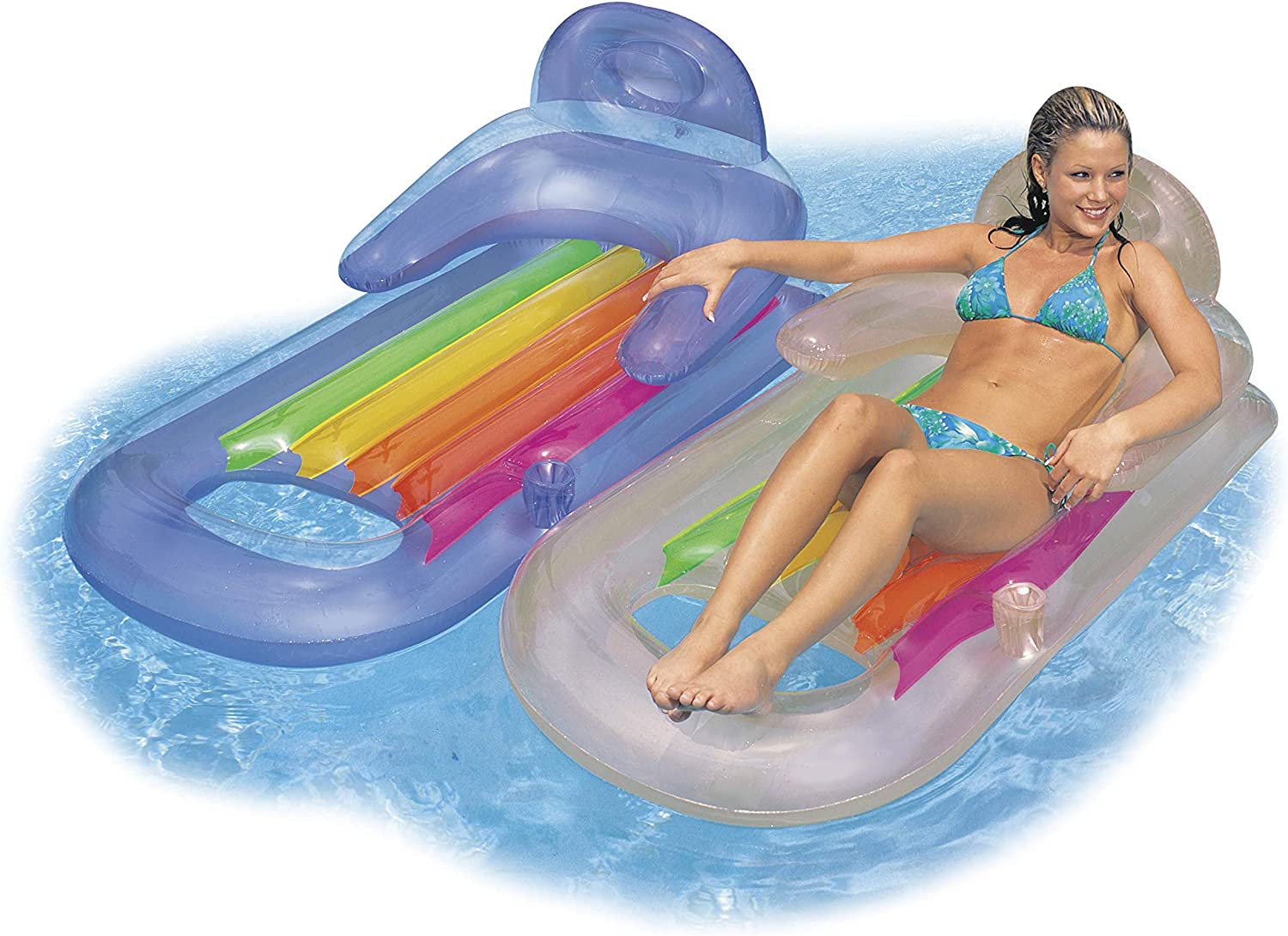 Intex King Kool Lounge Swimming Pool Lounger with Headrest - Set of 2 (Pair) : Toys & Games