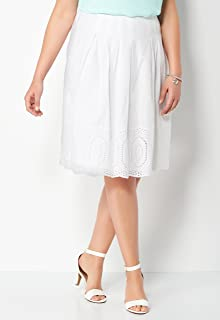 CHRISTOPHER & BANKS Pleated Embroidered Plus Size Skirt