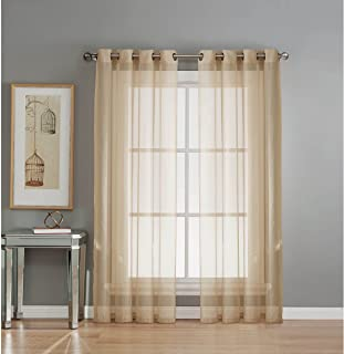 Window Elements Sheer Voile Grommet Extra Wide 54 x 84 in. Curtain Panel, Taupe