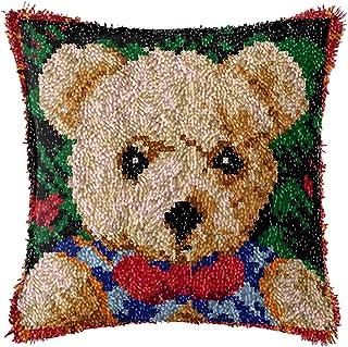 Lanrui Kits de Crochet de Bricolage DIY Jetez Un Coussin d'oreiller Tapis imprimé Mignon Ours Mignon Motif Crochet d'angoi...