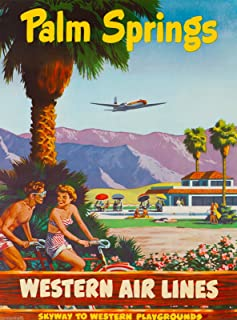 A SLICE IN TIME Palm Springs California Western Airlines Vintage United States Travel Advertisement Art Poster Print. Measures 10 x 13.5 inches