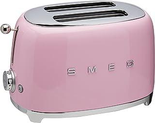 Smeg Retro Style Coffee Maker Machine, 17.3 x 12.8 x 11.3, Cream Smeg KLF03CRUS 50's Retro Style Aesthetic Electric Kettle with Embossed Logo, Cream Smeg BLF01CRUS 50s Style Blender,, Cream, 48 Ounces Smeg 2-Slice Toaster-Pink