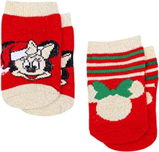 Disney Infant's Minnie and Mickey Mouse My First Christmas Holiday 2-Pair Socks