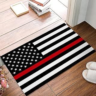 Family Decor Doormat for Entrance Way Indoor/Bathroom/Front Door Area Floor Mat Rugs Rubber Non Slip Absorb Kitchen Runner Carpet, Blue Line American Flag Honoring Firefighter Flags, 32