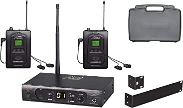 Audio2000'S AWM6309U UHF 100 Selectable Frequency Wireless in-Ear Monitor System with Two Wireless Receivers and a PVC Carrying Case