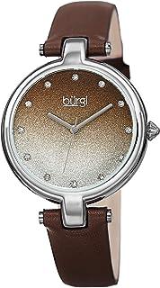 ساعة بورغي BUR225 جلد طبيعي للنساء - مينا لامع متدرج لامع مع 12 قلم من كريستال سواروفسكي، حافة مصقولة، كوارتز دقيق