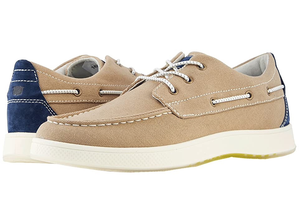 Florsheim Edge Moc Toe Boat Shoe (Khaki Canvas/Navy Nubuck) Men