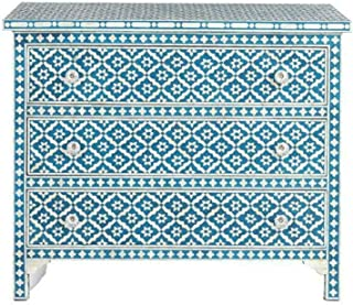 Handmade Industries Bone Inlay Chest of 3 Drawers Flowers Design in Blue Color