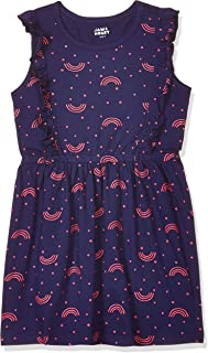 Amazon Brand - Jam & Honey Cotton Girls' Dresses & Jumpsuits Knee-Length Dress (AW20TRIKNIT01_Navy_2-3 Years)