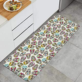 Colorful Mexican Sugar Skull Anti-Fatigue Kitchen Floor Mat Dry Fast Rug Doormats Outdoor Indoor Printted Floormat