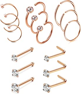 20G 4-15 Pcs Stainless Steel Nose Rings Studs L-Shape Piercing Body Jewelry 1.5mm 2mm 2.5mm 3mm (E:15Pcs Rose Gold-Tone)