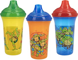 Nuby 3 Piece No Spill Easy Sippy Cups with Vari-Flo Valve Hard Spout, Nickelodeon Teenage Mutant Ninja Turtles, 9 Oz