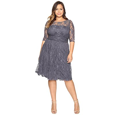 Kiyonna Luna Lace Dress (Twilight Grey) Women