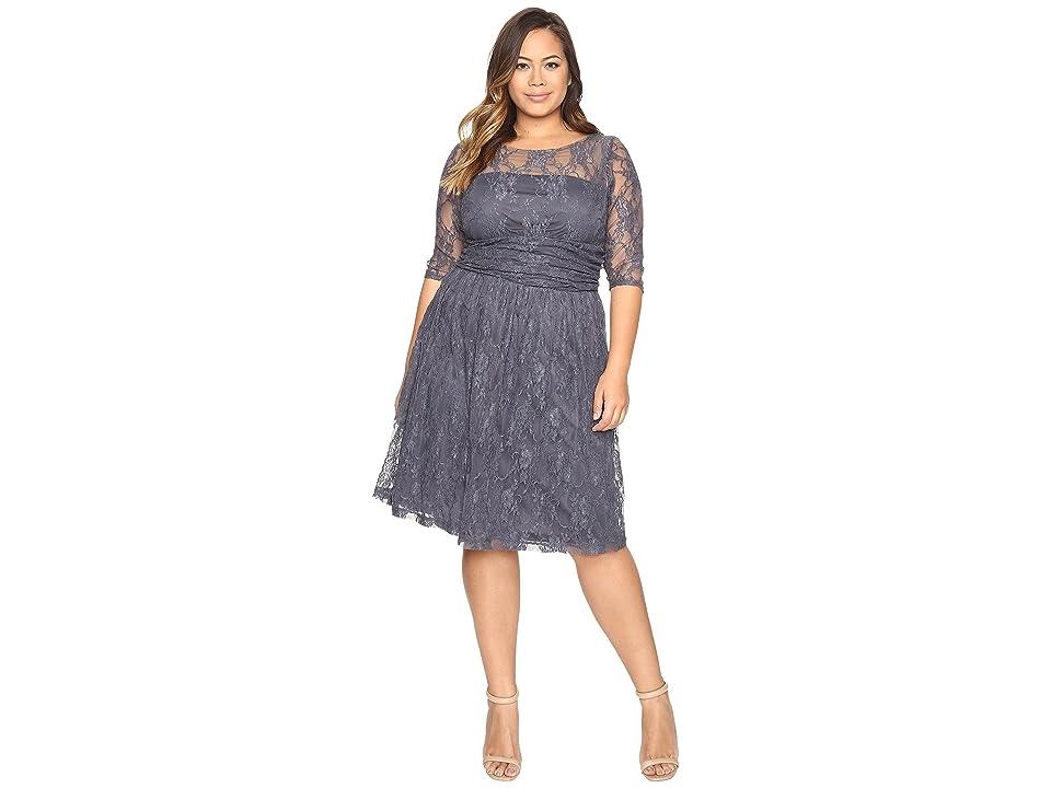 Kiyonna Luna Lace Dress (Twilight Grey) Women