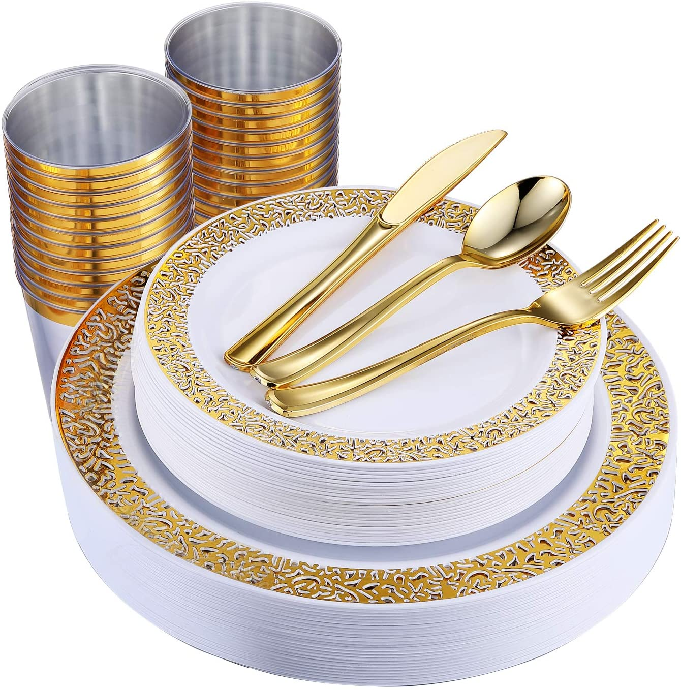 150 Piece Gold Same day shipping Dinnerware Set P National uniform free shipping Disposable Lace Elegant Plastic