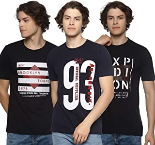 LEVIZO Half Sleeve Cotton Casual Round Neck Printed T Shirts Combo Pack of 3 for Men