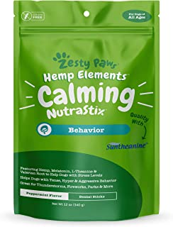 Calming Dental Sticks for Dogs - Stress & Anxiety Relief with Hemp, Melatonin & Chamomile - Dog Tartar Teeth Cleaning & Breath Freshener - Calm Composure for Fireworks, Thunderstorms & Barking
