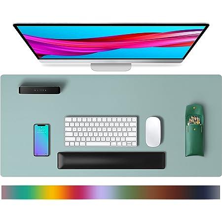 Tapis de bureau en cuir,tapis de souris, tapis de bureau,buvard de bureau en cuir PU antidérapant,tapis de bureau pour ordinateur portable pour le bureau et la maison(80x40cm,Bleu clair)