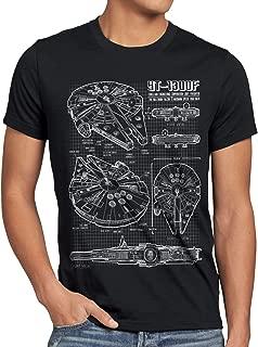style3 Halcón Milenario Cianotipo Camiseta para Hombre T-