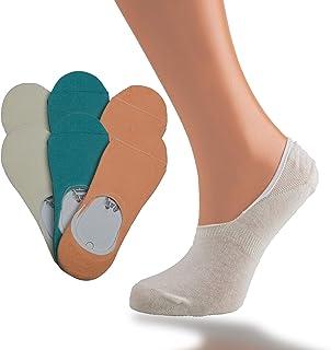 TURTLEDALE, 6 Pares Calcetines para Mujer Invisibles De Algodón Calcetines Cortos Elástco Con Silicona Antideslizante Anti-olor