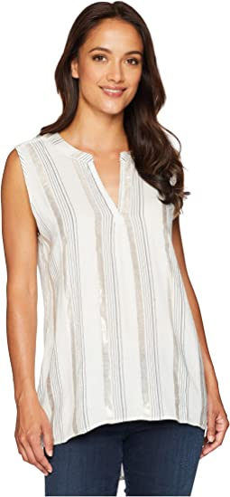 Shimmer Stripe High-Low Sleeveless Tunic