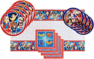DC Super Hero Girls Party Supplies Tableware Bundle Pack for 16 Guests - Includes 16 Dinner Plates, 16 Dessert Plates, 16 Dinner Napkins, and 1 Tablecover