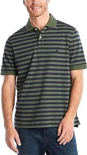 Men's Classic Fit 100% Cotton Soft Short Sleeve Stripe Polo Shirt
