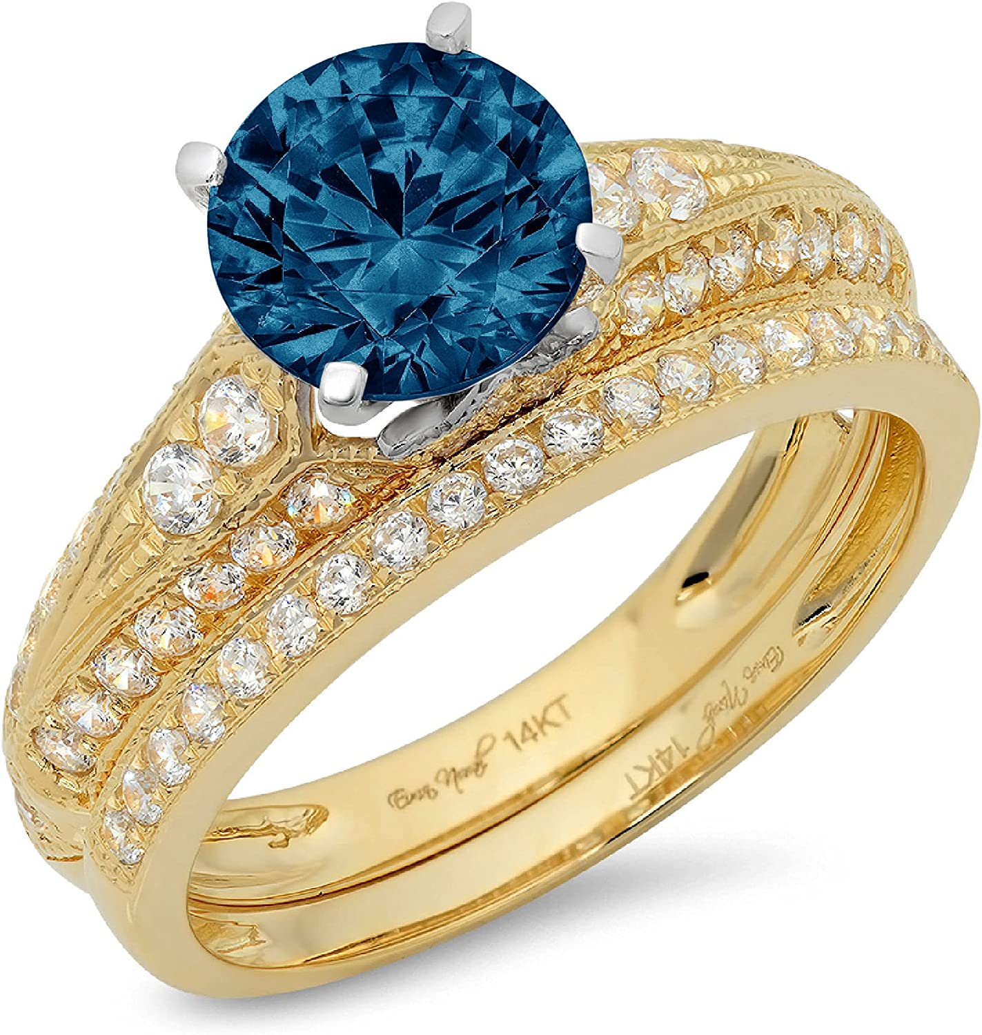 2.2 ct Round Cut Pave Solitaire with Accent Genuine Flawless Natural London Blue Topaz Designer Statement Classic Engagement Bridal Ring Band wedding Set Solid 18K 2 Tone Gold