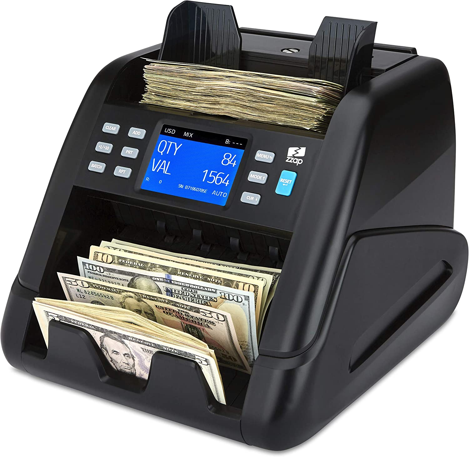 ZZap NC55 Mixed Denomination Bill Counter with Counterfeit Detection - Value Money Cash Machine Currency : Office Products