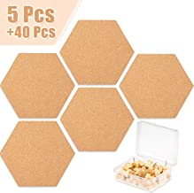 Whaline 5 Pack Hexagon Cork Board Tiles with Full Sticky Back, Small Wall Bulletin Boards Mini Pin Board with 40 Push Pins for Pictures, Photos, Drawing
