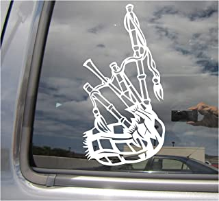 Bagpipes - Woodwind Instrument Reeds Music Pipers Scottish Highlands - Cars Trucks Moped Helmet Hard Hat Auto Automotive Craft Laptop Vinyl Decal Store Window Wall Sticker 10203