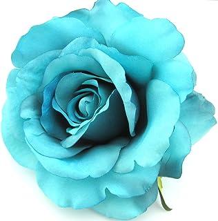 4.5 Turquoise Rose Silk Flower Hair Clip