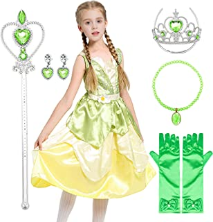 Tian Princess Dress Frog Girl's Costume Queen Dress up Cosplay Outfit for Toddler Girls