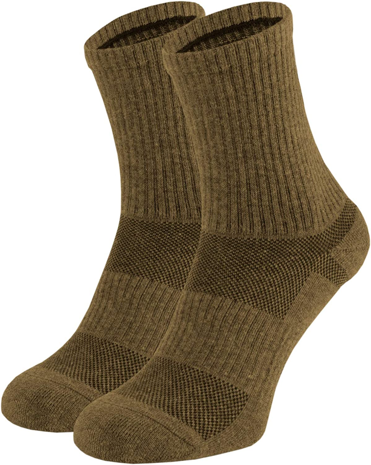 281Z Military Cotton Micro Crew Boot Socks Cushioned Sole Hiking Outdoor Moisture Wicking Coyote Brown