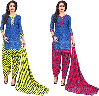 Jevi Prints - Pack of 2 Unstitched Women's Unstitched Synthetic Crepe Salwar Suit Dupatta Material (R-9158_A-9158_D)